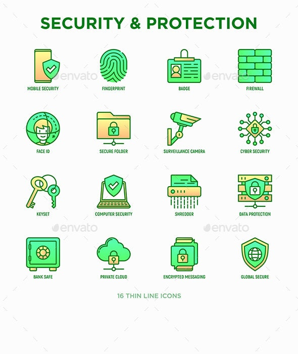 Security Protection   16 Thin Line Icons Set - Technology Icons