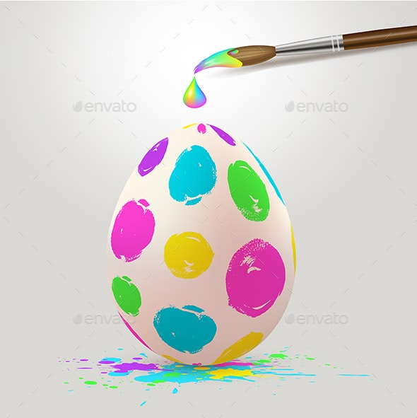 Multicolored Easter Egg and Paintbrush - Miscellaneous Seasons/Holidays