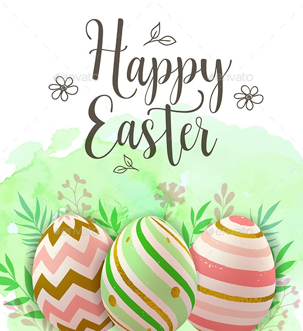 Easter Greeting Card with Decorative Eggs - Miscellaneous Seasons/Holidays