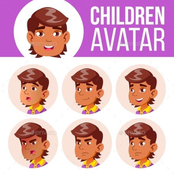 Arab, Muslim Avatar Set Kid Vector. Primary School - People Characters