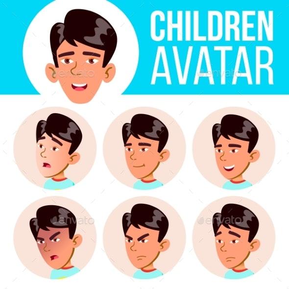 Asian Boy Avatar Set Kid Vector. Primary School - People Characters