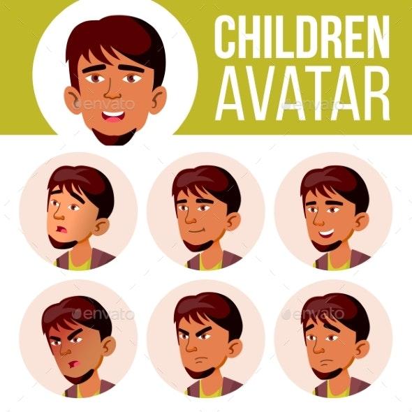 Arab, Muslim Boy Avatar Set Kid Vector. High - People Characters