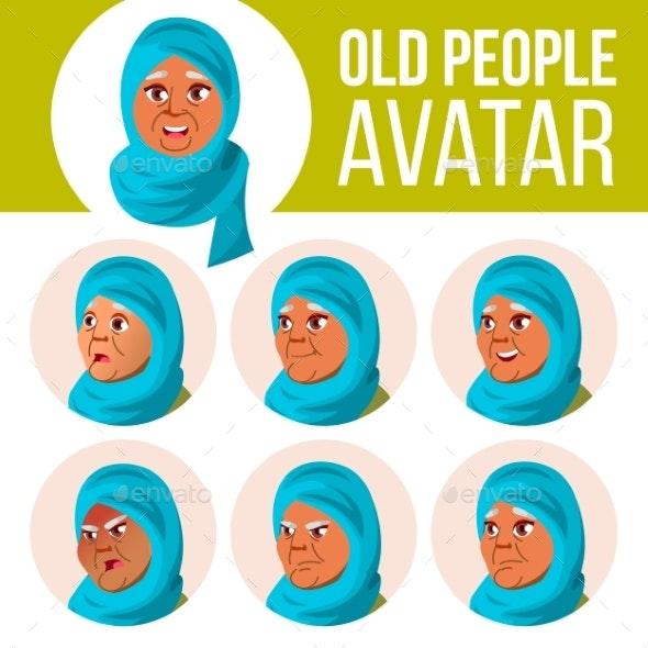Arab, Muslim Old Woman Avatar Set Vector. Face - People Characters