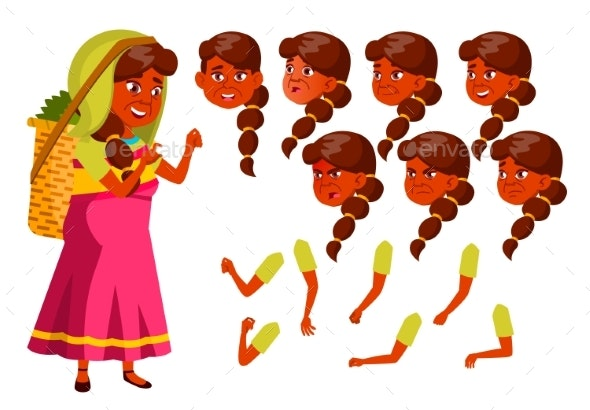 Indian Old Woman Vector. Senior Person. Aged - People Characters