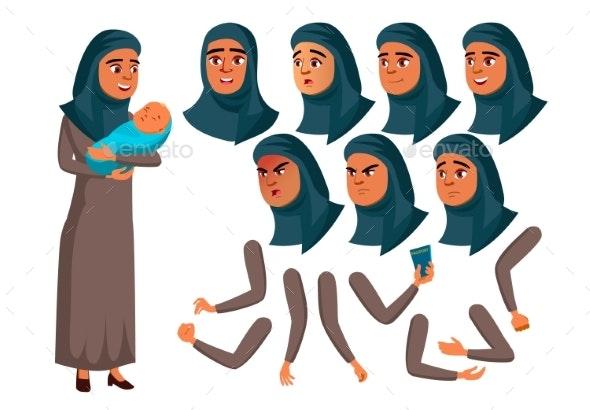 Arab, Muslim Teen Girl Vector. Teenager. Adult - People Characters