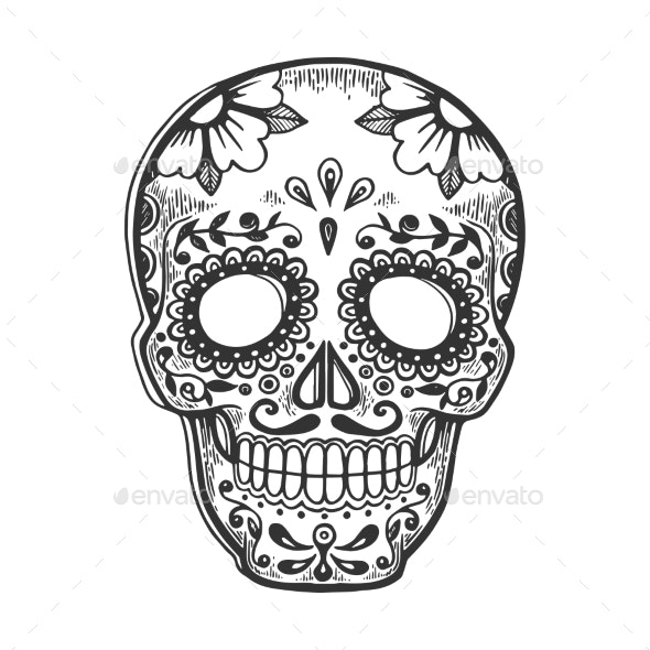 Mask Day of the Dead Sketch Engraving Vector - Miscellaneous Vectors