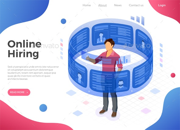 Isometric Job Agency Employment and Hiring Concept - Computers Technology