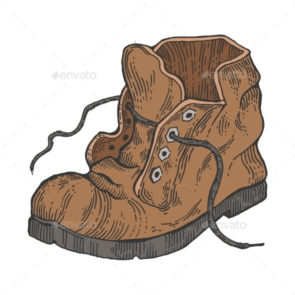 Old Shabby Boot Color Engraving Style Vector - Miscellaneous Vectors