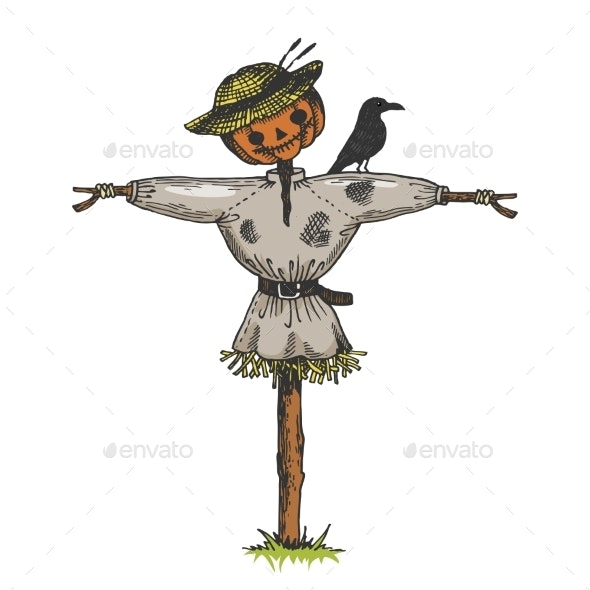 Scarecrow Color Sketch Engraving Vector - Man-made Objects Objects