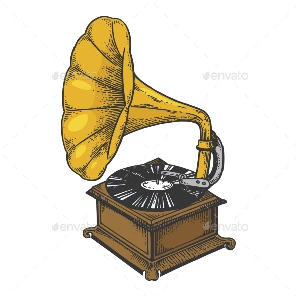 Old Fashioned Gramophone Sketch Engraving Vector - Miscellaneous Vectors