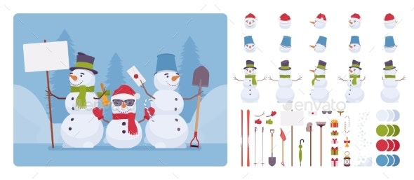 Snowman Figure Character Set - Miscellaneous Characters