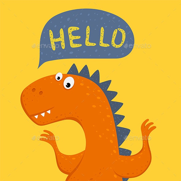 Orange Dinosaur on Yellow Background - Monsters Characters