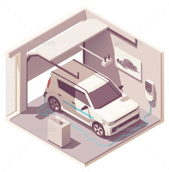 Vector Isometric Garage and Electric Vehicle - Buildings Objects