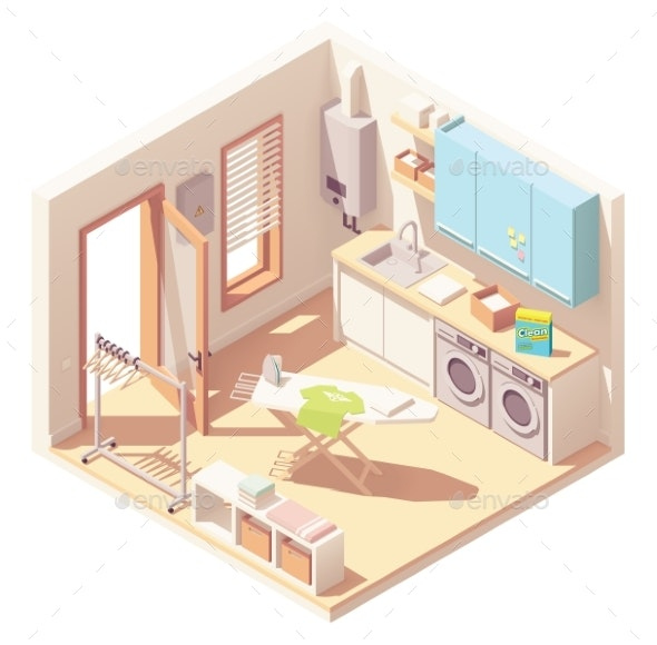 Vector Isometric Laundry Room - Buildings Objects