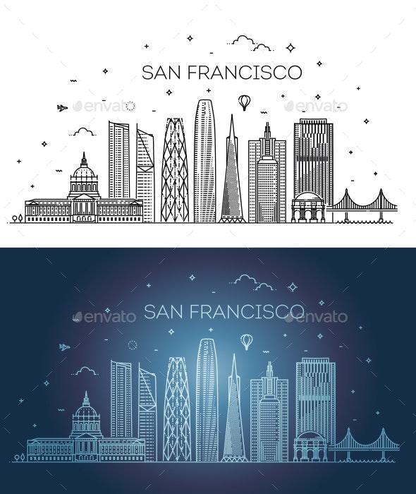 San Francisco City Skyline - Buildings Objects