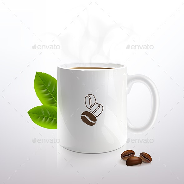White Cup with Hot Coffee - Food Objects