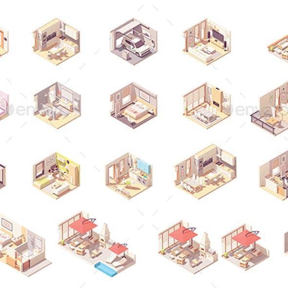 Vector Isometric Rooms Set