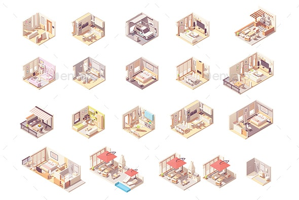 Vector Isometric Rooms Set - Buildings Objects