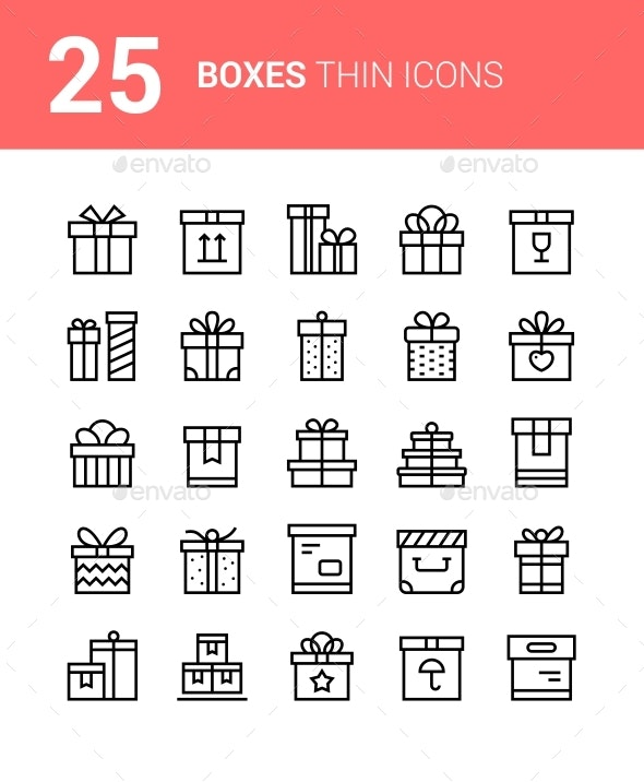 25 Thin Vector Box Icons with Ribbons for Website and Mobile Design - Business Icons