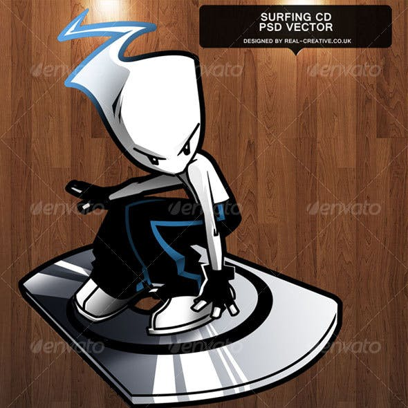 Surfing CD Character - 100% Vector