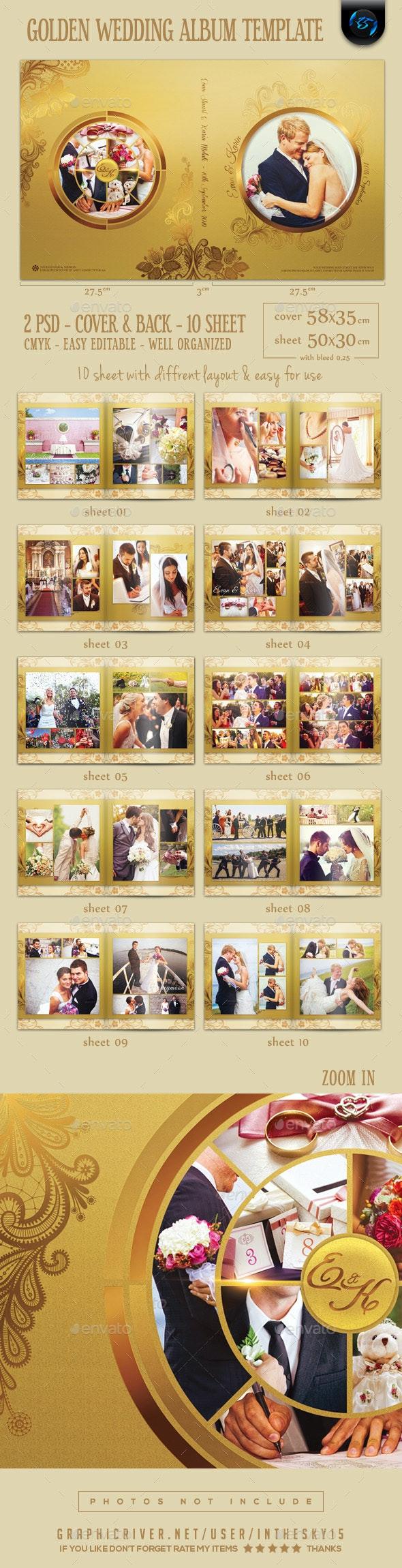 Golden Wedding Album Template - Photo Albums Print Templates