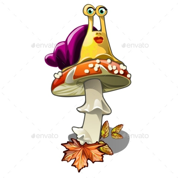 Snail on a Fly Agaric Isolated on White - Animals Characters