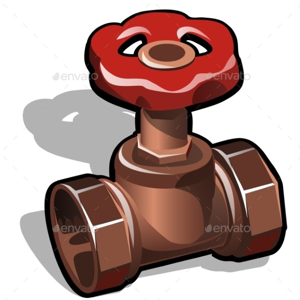 Industrial Copper or Brass Water Valve Isolated - Industries Business