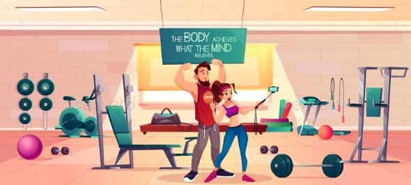 Sportive People in Fitness Gym Interior Vector - Sports/Activity Conceptual