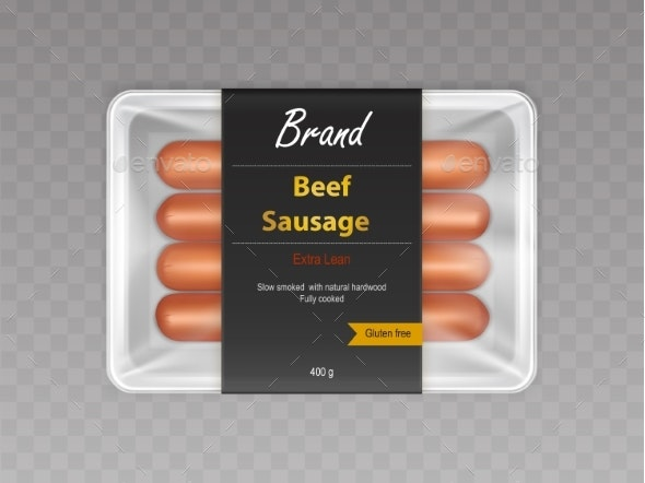Beef Sausages in Sealed Packaging Realistic Vector - Food Objects