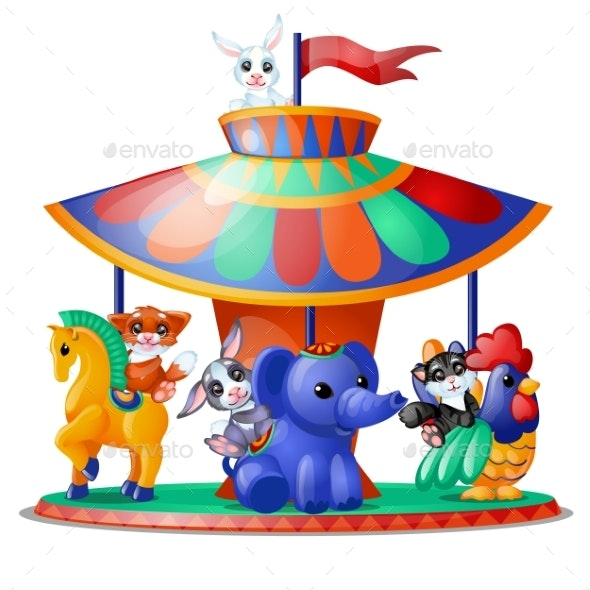 Animated Animals Ride the Carousel - Animals Characters