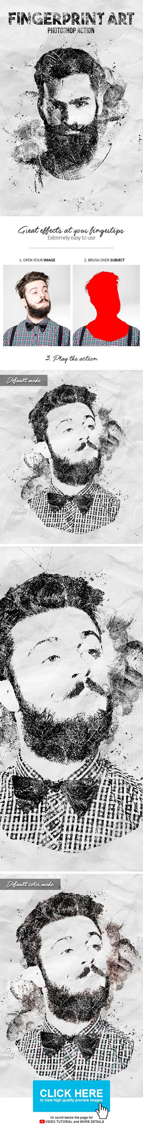 Fingerprint Art Photoshop Action - Photo Effects Actions