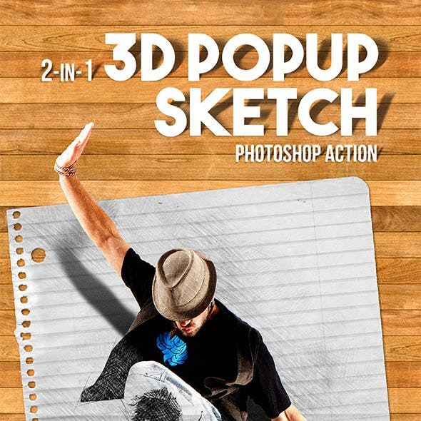 3D Popup Sketch Photoshop Action
