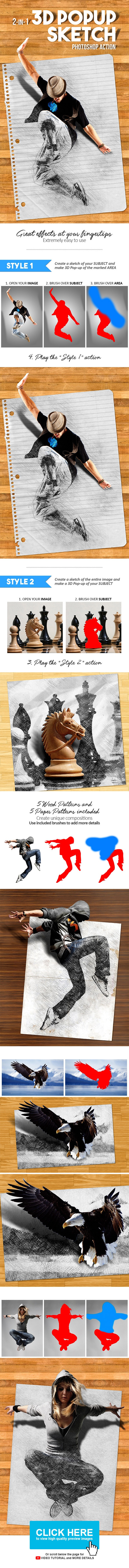 3D Popup Sketch Photoshop Action - Photo Effects Actions