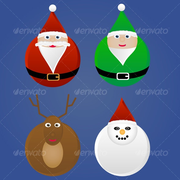 Christmas Holiday Ornaments - Characters Illustrations