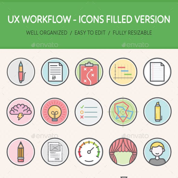 UX Workflow - Icons Filled Version