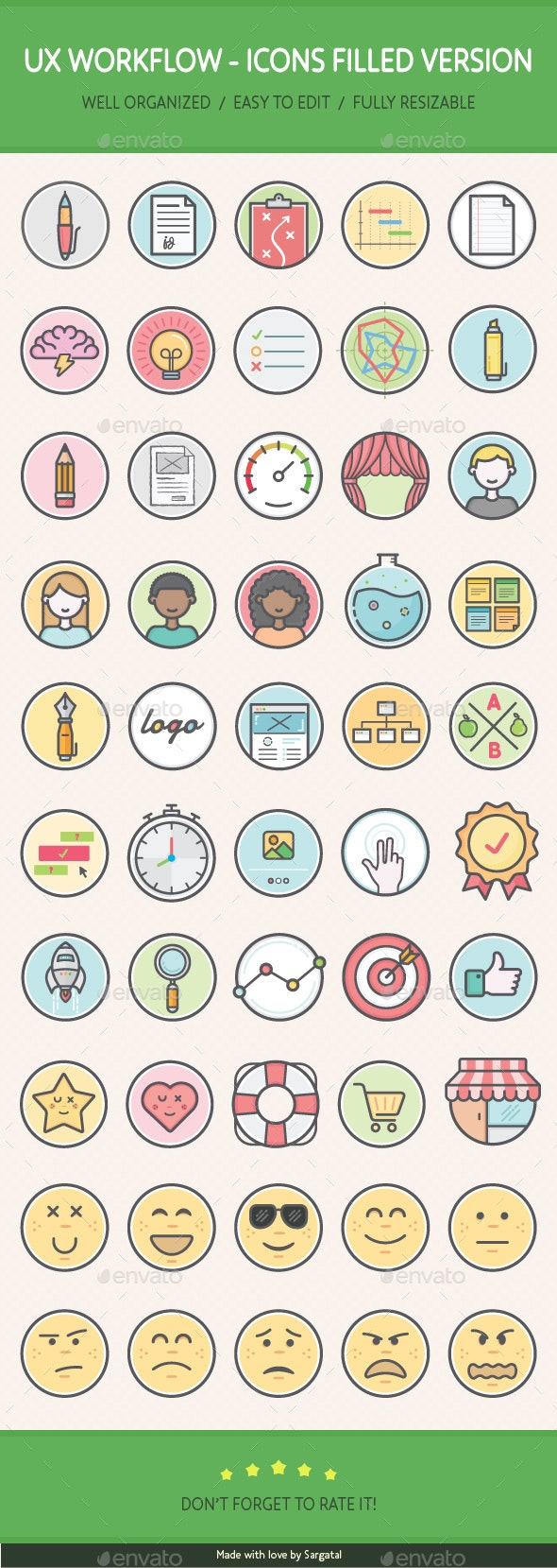UX Workflow - Icons Filled Version - Web Icons