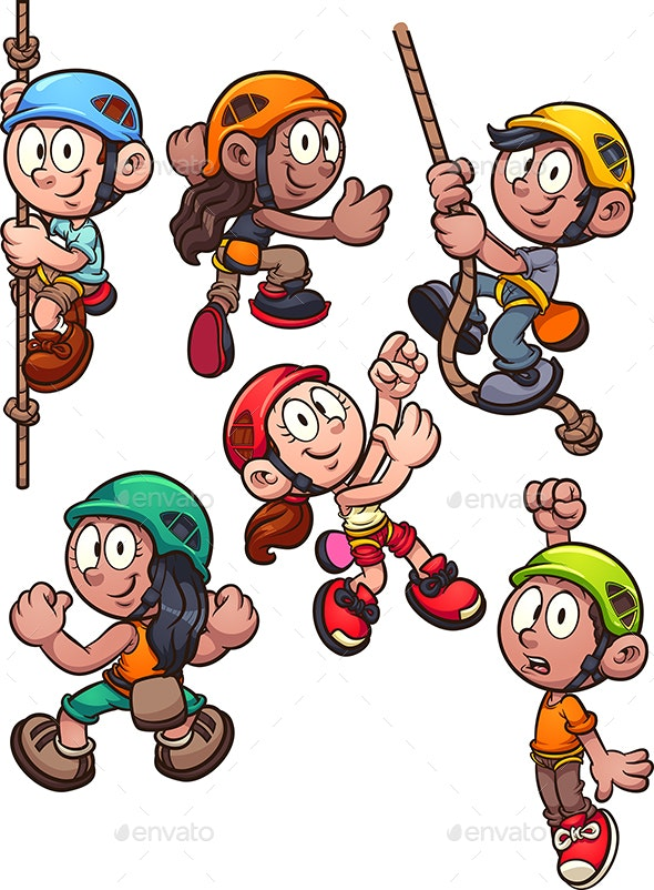 Rock Climbing Kids - People Characters