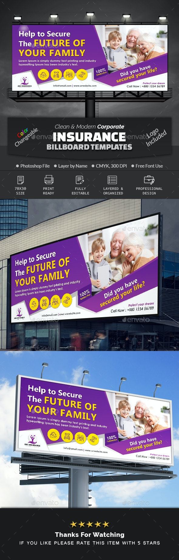 Insurance Business Billboard - Signage Print Templates