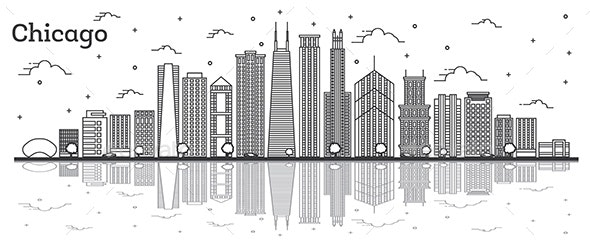 Outline Chicago Illinois City Skyline with Modern Buildings and Reflections Isolated on White. - Buildings Objects