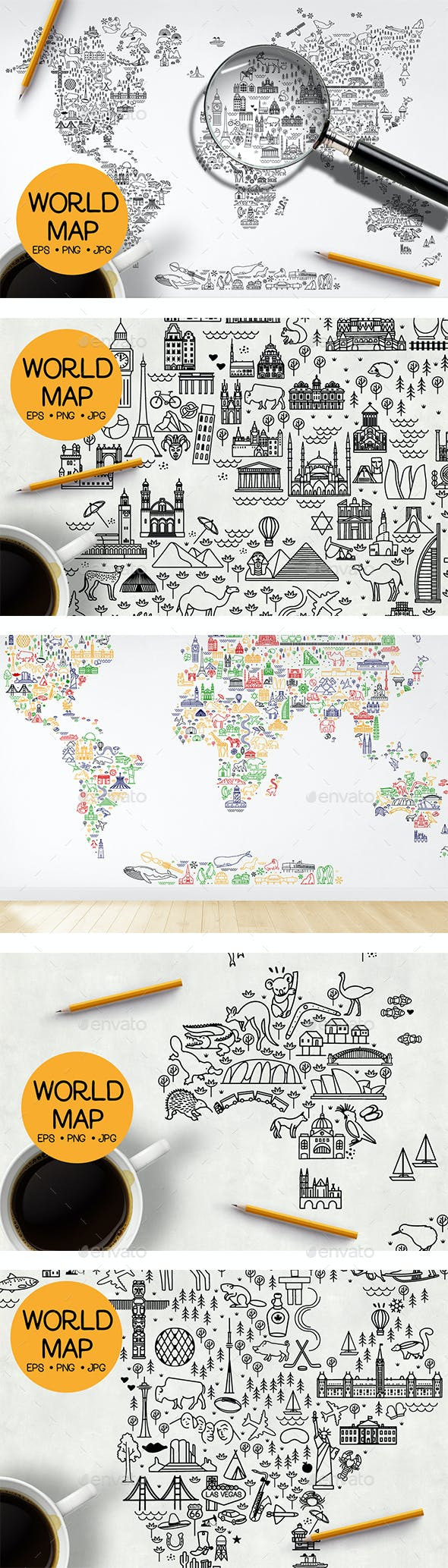 World Travel Line Icons Map