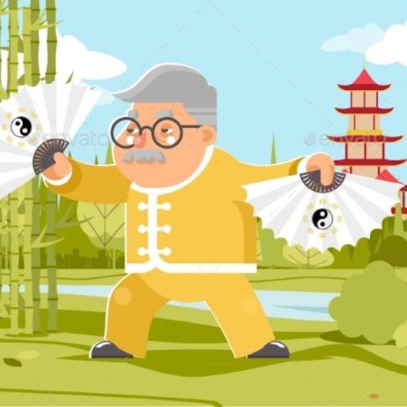 Grandfather Fan Chinese Wushu Kungfu Taichi