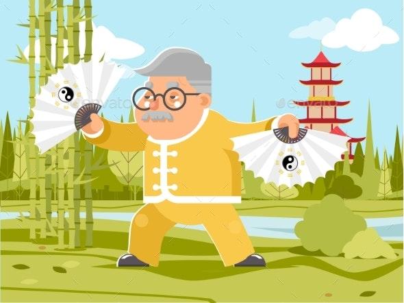 Grandfather Fan Chinese Wushu Kungfu Taichi - Sports/Activity Conceptual