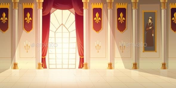Medieval Castle Ballroom Cartoon Vector Background - Backgrounds Decorative