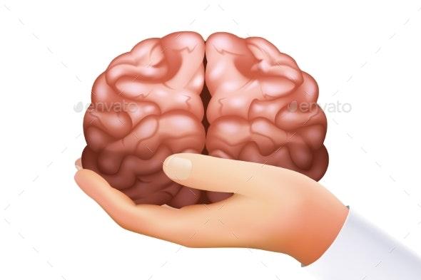 Hand Holding Human Brain Mind Organ Science - Health/Medicine Conceptual