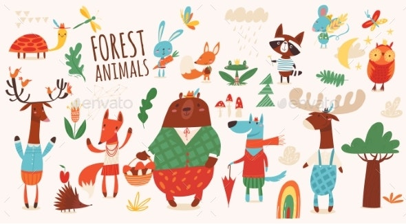 Vector Set of Cartoon Forest Animals - Animals Characters