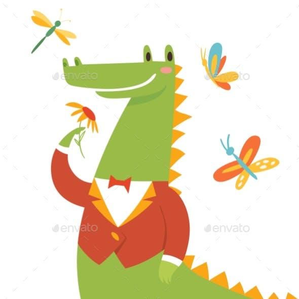 Thank You Card with Wild Crocodile