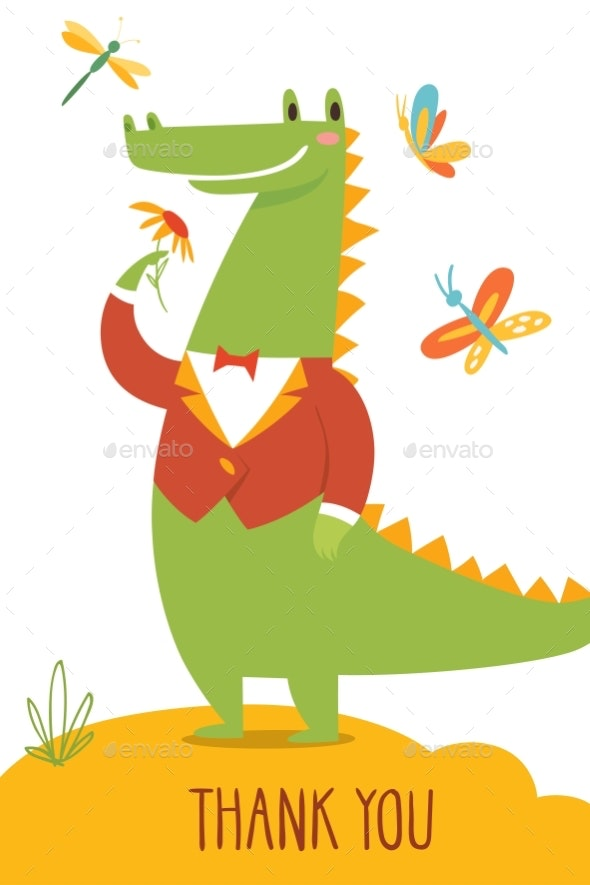 Thank You Card with Wild Crocodile - Man-made Objects Objects