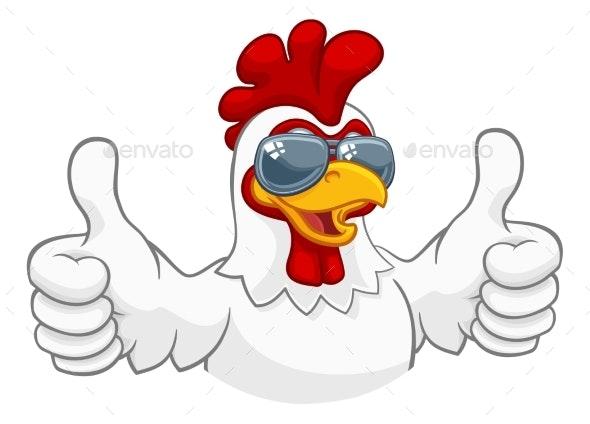 Chicken Rooster Cockerel Sunglasses Cartoon - Animals Characters