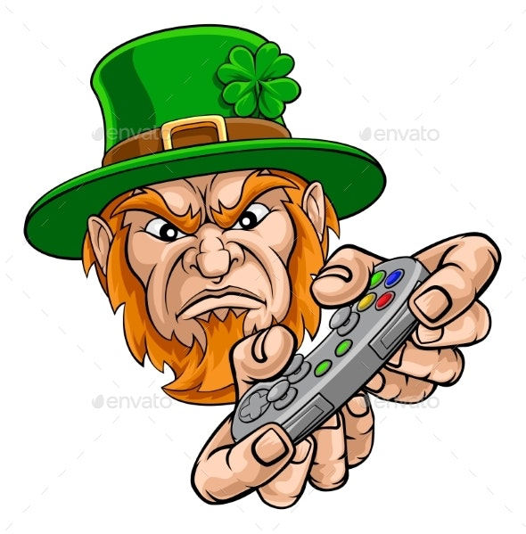 Leprechaun Gamer Mascot and Video Games Controller - Miscellaneous Characters