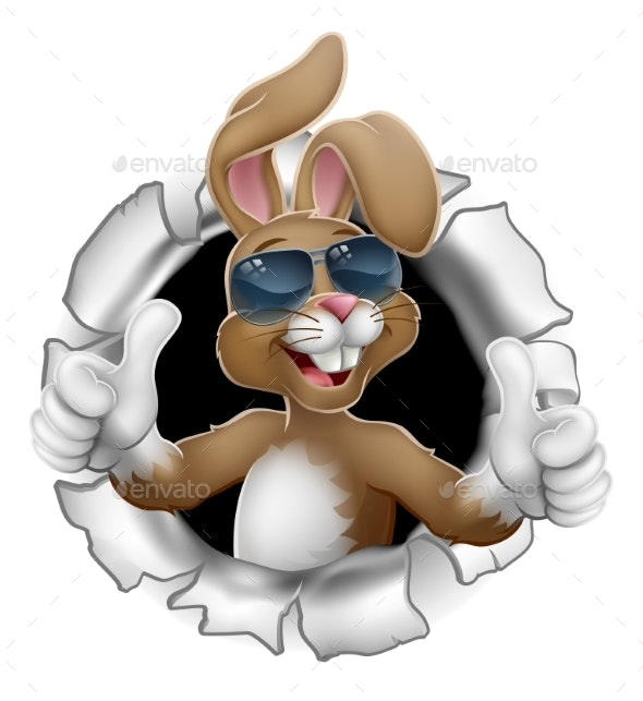 Easter Bunny Thumbs Up Rabbit in Sunglasses - Miscellaneous Seasons/Holidays